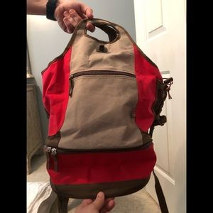 Red brown backpack insulated
